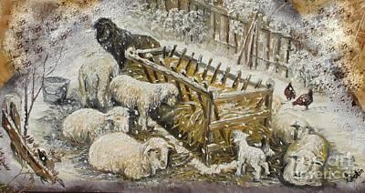 Snow Lambs Art Print