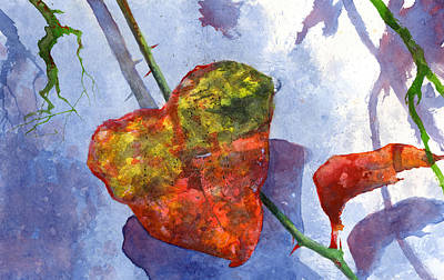 Vine Painting - Snow Leaf by Andrew King