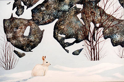 Painting - Snow Ledges Rabbit by Frank Wilson