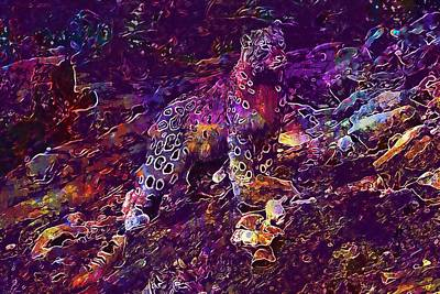 Digital Art - Snow Leopard Cat Animals  by PixBreak Art