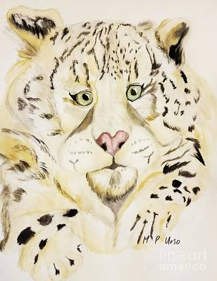 Mixed Media - Snow Leopard  by Maria Urso