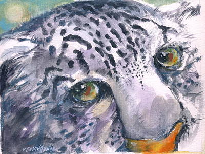 Art Print featuring the painting Snow Leopard by Mary Armstrong