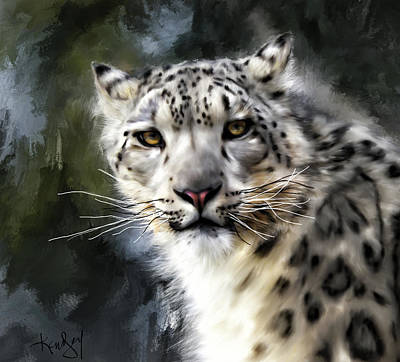 Digital Art - Snow Leopard Portrait by Johanne Dauphinais