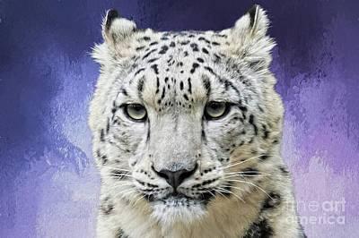 Digital Art - Snow Leopard Purple by Suzanne Handel