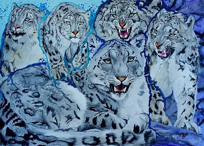 Painting - Snow Leopards by Raymond Perez