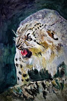 Painting - Snow Lepard by Khalid Saeed