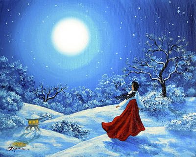 Full Moon Painting - Snow Like Stars by Laura Iverson