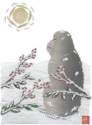 Mixed Media - Snow Monkey And Sunrise  by Keiko Suzuki