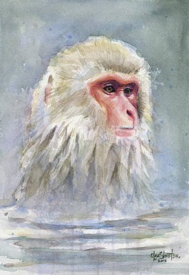 Monkey Wall Art - Painting - Snow Monkey Taking A Bath by Olga Shvartsur