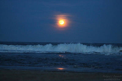 Photograph - Snow Moon Ocean Waves by Robert Banach