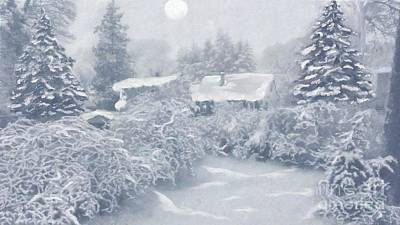 Painting - Snow Moon by Roxy Riou