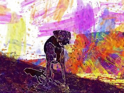 Labrador Digital Art - Snow Mountains Dog Peak Labrador  by PixBreak Art
