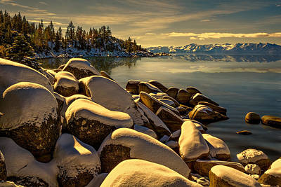 Photograph - Snow On Boulders by Maria Coulson