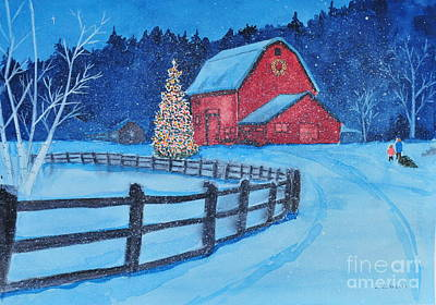 Painting - Snow On Christmas Eve by John W Walker