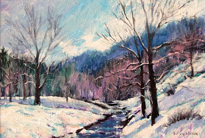 Snow Scene Painting - Snow On Goose Creek by Bonnie Mason
