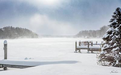 Snow On Lake Charlevoix Art Print