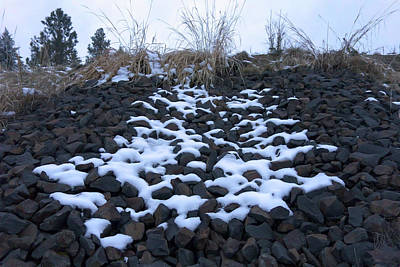 Photograph - Snow On Lava Rock by Daniel Hagerman