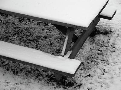 Photograph - Snow On Picnic Table by Tom Brickhouse