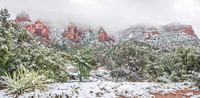 Dry Creek Photograph - Snow On Red Rock by Racheal Christian