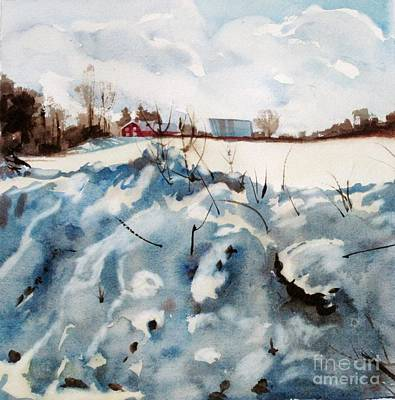 Art Print featuring the painting Snow On Southwick by Elizabeth Carr