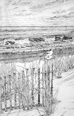 Sand Fences Drawing - Snow On The Beach by Janice Petrella-Walsh