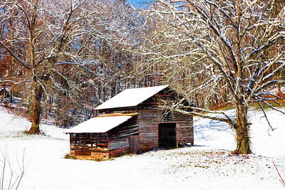 Abandoned Cabins Smoky Mountains Wall Art - Photograph - Snow On The Country Barn by Debra and Dave Vanderlaan