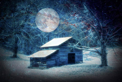 Photograph - Snow On The Country Barn Full Moon On Christmas Eve by Debra and Dave Vanderlaan