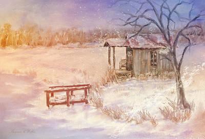 Snow On The Fishing Pond Art Print