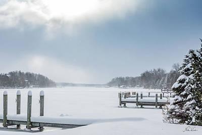 Snow On The Lake Art Print