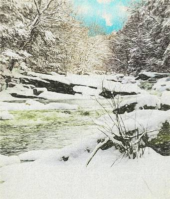 Digital Art - Snow On The Natchaug by Rusty R Smith