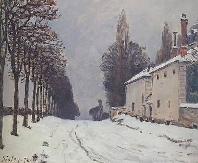 Snow On The Road Louveciennes Art Print by Alfred Sisley