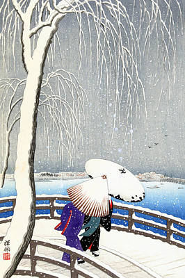 Snow On Willow Bridge By Koson Art Print