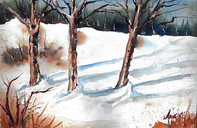 Snow Orchard Art Print