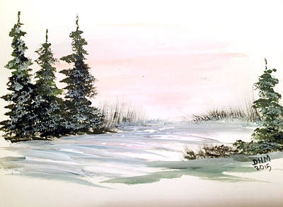 Painting - Snow Over The Pasture by Dorothy Maier