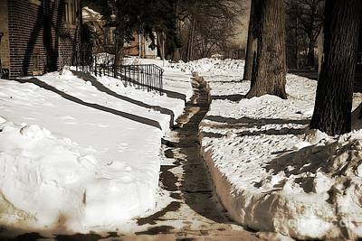 Frank J Casella Royalty-Free and Rights-Managed Images - Snow Paths and Winter Shadows by Frank J Casella