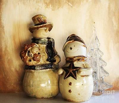 Snow People In Love Print by Marsha Heiken