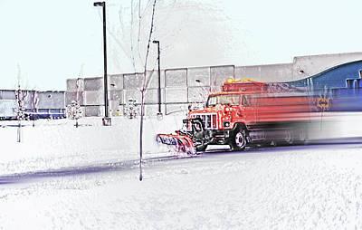 Snow Plow In Business Park 1 Art Print by Steve Ohlsen
