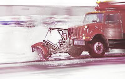 Snow Plow In Business Park 2 Art Print by Steve Ohlsen