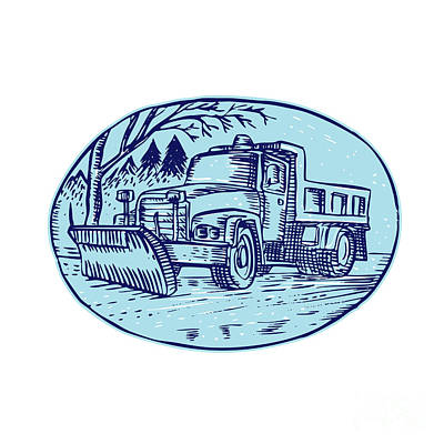 Snow Removal Digital Art - Snow Plow Truck Oval Etching by Aloysius Patrimonio