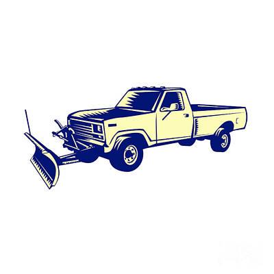 Snow Plow Truck Woodcut Art Print by Aloysius Patrimonio