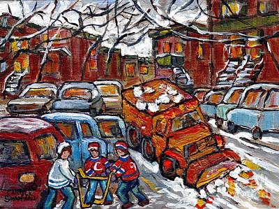 Painting - Snow Plow Winterscene Paintng For Sale Street Hockey Canadian Art For Sale C Spandau Montreal Artist by Carole Spandau
