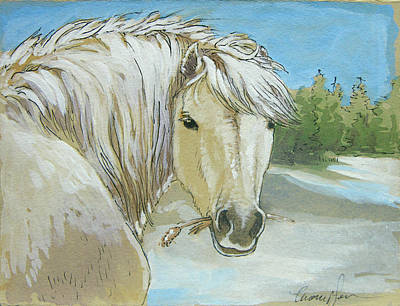 Shetland Ponies Painting - Snow Pony by Tracie Thompson