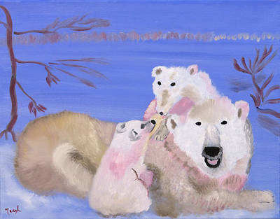 Painting - Frosty Polar Love by Meryl Goudey