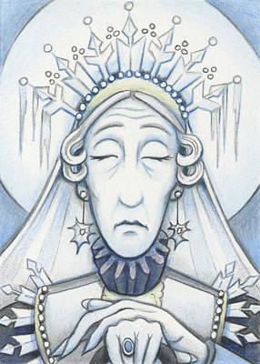 Snow Queen Mum Slumbers Art Print by Amy S Turner