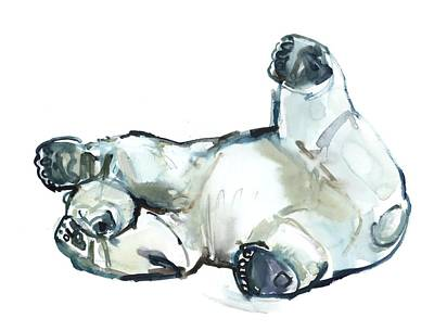 Bear Painting - Snow Rub by Mark Adlington