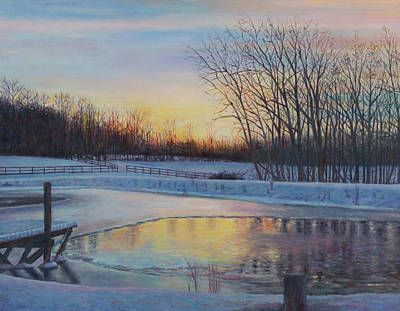Painting - Snow Scene At Sunset by David P Zippi