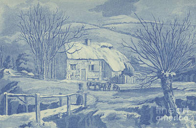 Wintry Drawing - Snow Scene by English School