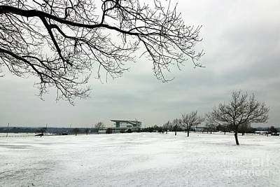 Photograph - Snow Scene Epsom Downs Surrey Uk by Julia Gavin