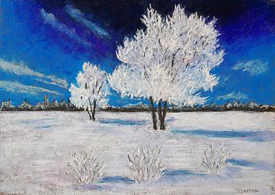 Pastel - Snow Scene by Marina Garrison