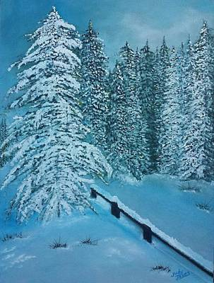 Painting Royalty Free Images - Snow Scenery Royalty-Free Image by Judy Jones